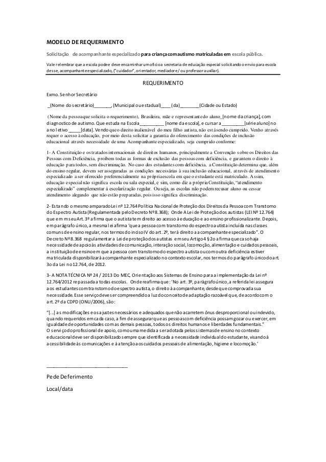 MODELO DEREQUERIMENTO Solicitação de acompanhante especializado para criança com autismo matriculadas em escola pública. V...