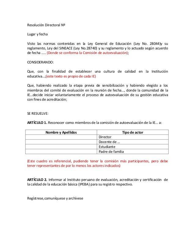 Modelo De Resoluci 243 N Directoral Comis Autoeval Para Ebr