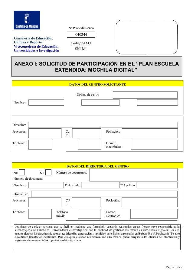Nº Procedimiento  040244  Consejería de Educación, Cultura y Deporte Viceconsejería de Educación, Universidades e Investig...