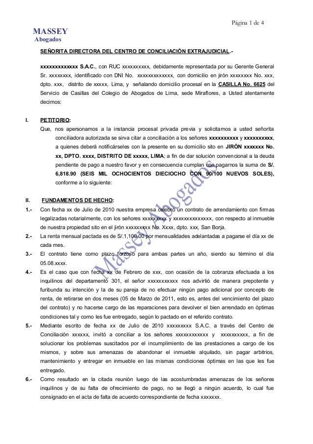 Modelo de solicitud de conciliaci n de pago de arriendos for Modelo acuerdo extrajudicial clausula suelo