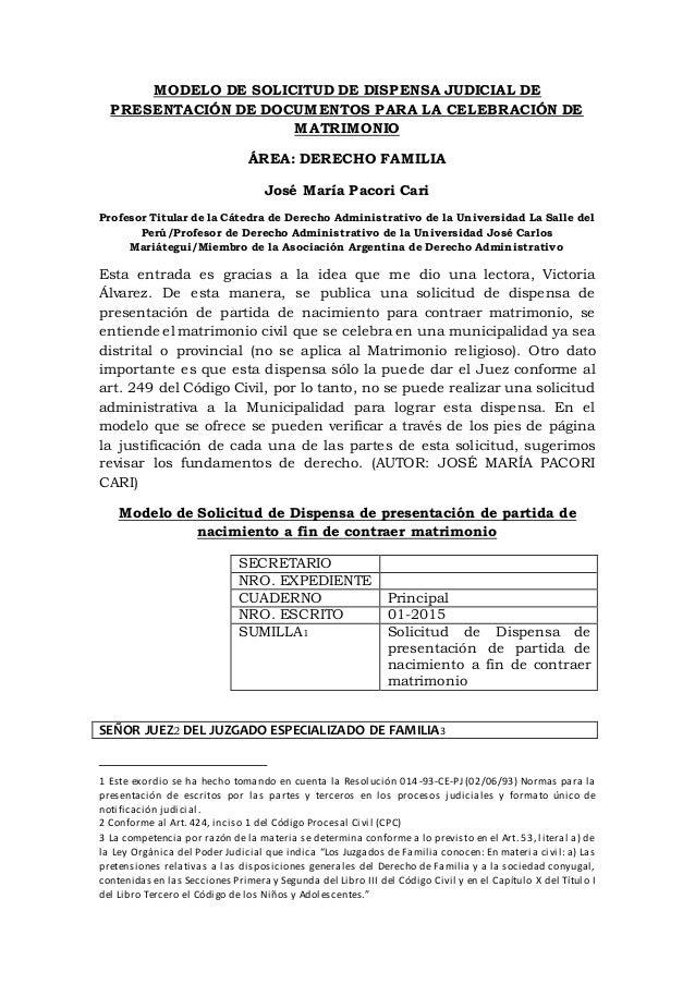 Requisitos para contraer matrimonio 1 solicitud de modelo de solicitud de dispensa judicial de - Requisitos para casarse ...