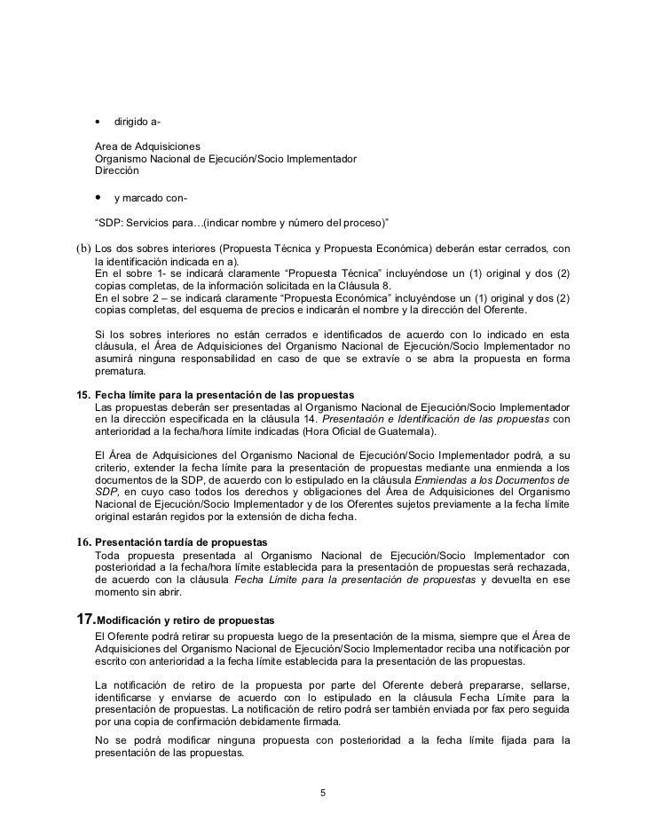 Modelo de solicitud de propuesta