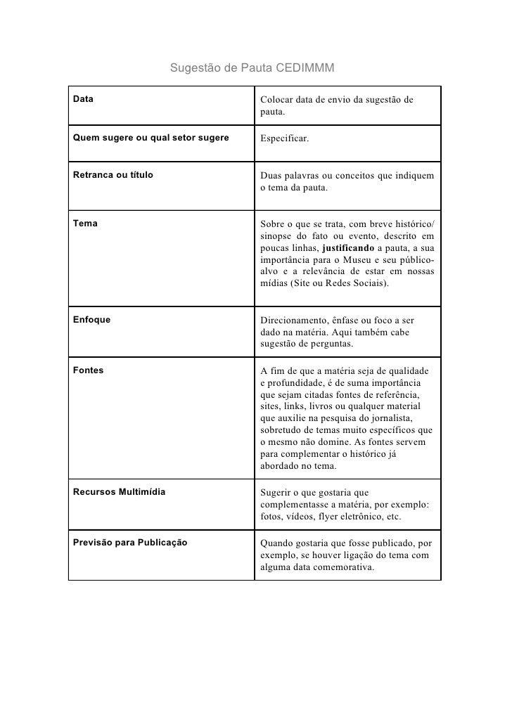 Sugestão de Pauta CEDIMMMData                               Colocar data de envio da sugestão de                          ...