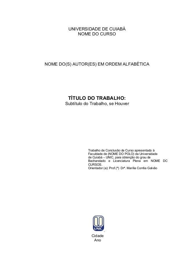 Modelo De Tcc Unic Universidade De Cuiaba