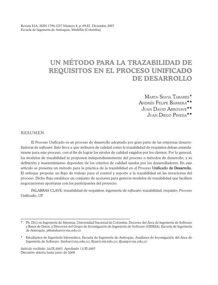 Revista EIA, ISSN 1794-1237 Número 8, p. 69-82. Diciembre 2007Escuela de Ingeniería de Antioquia, Medellín (Colombia)     ...