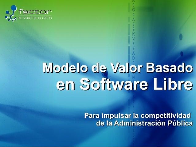 Modelo de Valor Basado   en Software Libre       Para impulsar la competitividad          de la Administración Pública