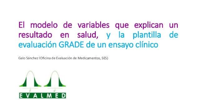 El modelo de variables que explican un resultado en salud, y la plantilla de evaluación GRADE de un ensayo clínico Galo Sá...