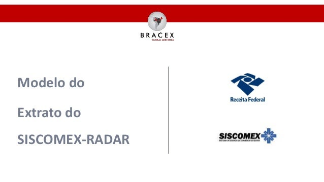 Modelo do Extrato do SISCOMEX-RADAR