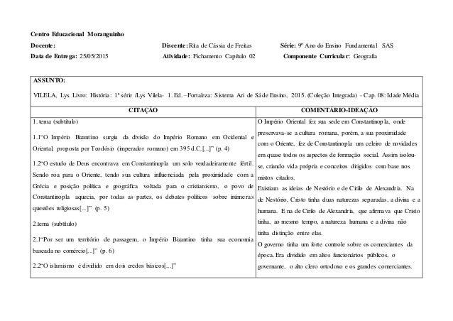 Centro Educacional Moranguinho Docente: Discente: Rita de Cássia de Freitas Série: 9º Ano do Ensino Fundamental SAS Data d...