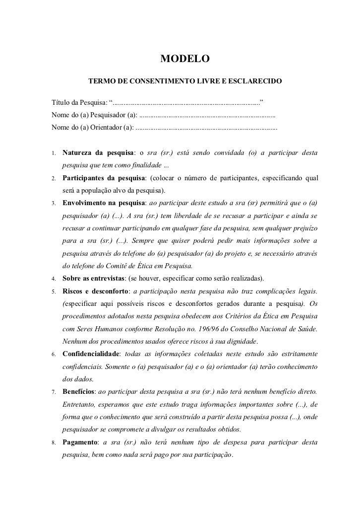Modelo do termo de consentimento livre e esclarecido1