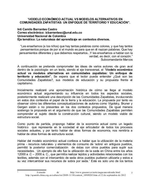 """""""MODELO ECONÓMICO ACTUAL VS MODELOS ALTERNATIVOS EN COMUNIDADES ZAPATISTAS: UN ENFOQUE DE TERRITORIO Y EDUCACIÓN"""". Inti Ca..."""