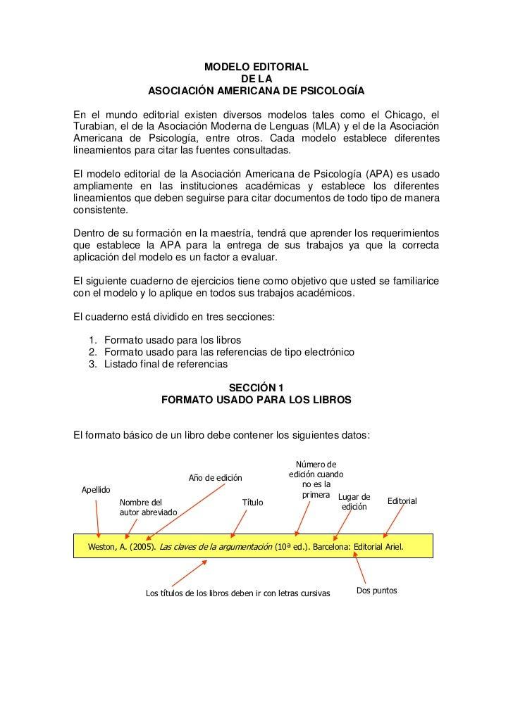 MODELO EDITORIAL                                  DE LA                    ASOCIACIÓN AMERICANA DE PSICOLOGÍA  En el mundo...