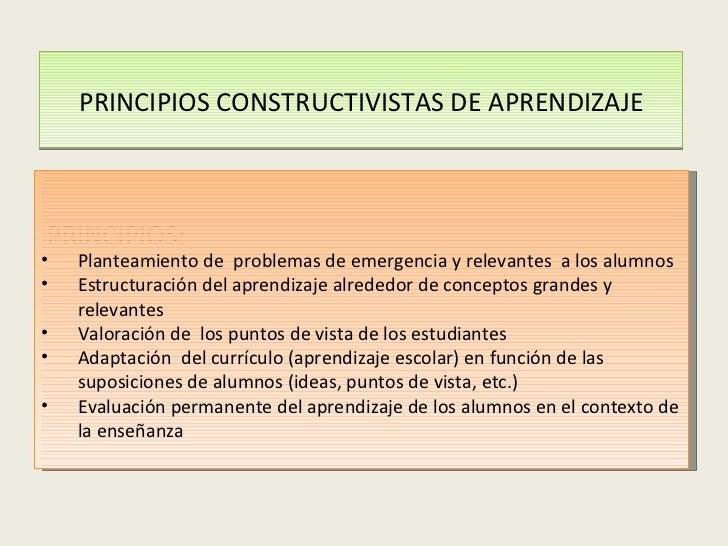 PRINCIPIOS CONSTRUCTIVISTAS DE APRENDIZAJE PRINCIPIOS: <ul><li>Planteamiento de  problemas de emergencia y relevantes  a l...