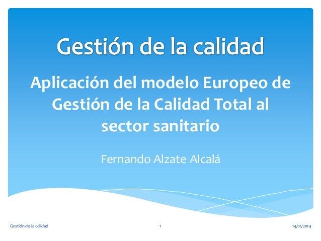 Aplicación del modelo Europeo de Gestión de la Calidad Total al sector sanitario Fernando Alzate Alcalá  Gestión de la cal...