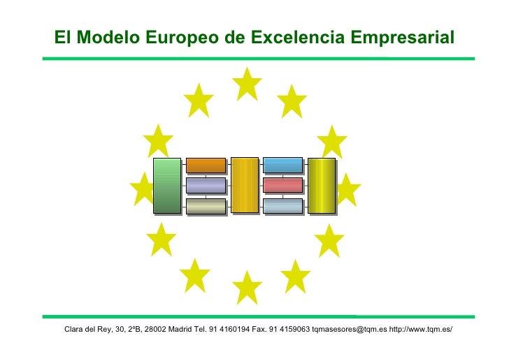 El Modelo Europeo de Excelencia Empresarial Clara del Rey, 30, 2ºB, 28002 Madrid Tel. 91 4160194 Fax. 91 4159063 tqmasesor...