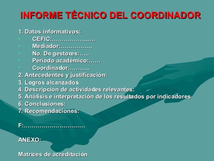 INFORME TÉCNICO DEL COORDINADOR <ul><li>1. Datos informativos: </li></ul><ul><li>CEFIC:…………………. </li></ul><ul><li>Mediador...
