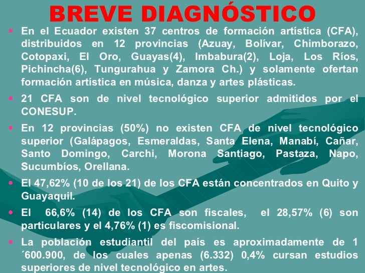 BREVE DIAGNÓSTICO <ul><li>En el Ecuador existen 37 centros de formación artística (CFA), distribuidos en 12 provincias (Az...