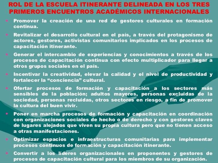 ROL DE LA ESCUELA ITINERANTE DELINEADA EN LOS TRES PRIMEROS ENCUENTROS ACADÉMICOS INTERNACIONALES <ul><li>Promover la crea...