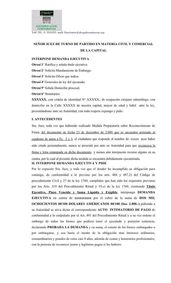 Telf: 591 -3- 3241835 mail: fbarrientos@abogadossantacruz.org SEÑOR JUEZ DE TURNO DE PARTIDO EN MATERIA CIVIL Y COMERCIAL ...