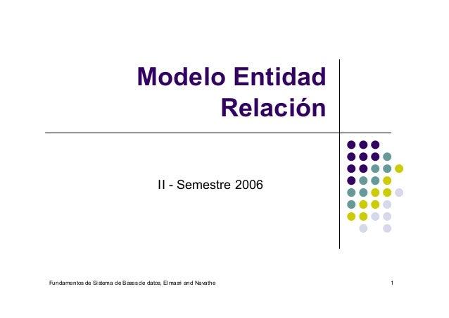 Fundamentos de Sistema de Bases de datos, Elmasri and Navathe 1 Modelo Entidad Relación II - Semestre 2006