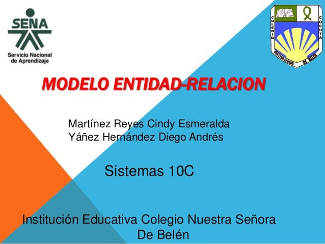 MODELO ENTIDAD-RELACION Martínez Reyes Cindy Esmeralda Yáñez Hernández Diego Andrés Institución Educativa Colegio Nuestra ...