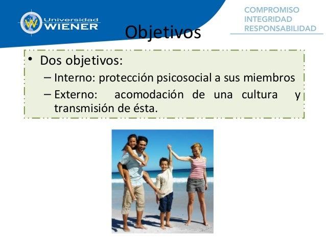 Objetivos • Dos objetivos: – Interno: protección psicosocial a sus miembros – Externo: acomodación de una cultura y transm...
