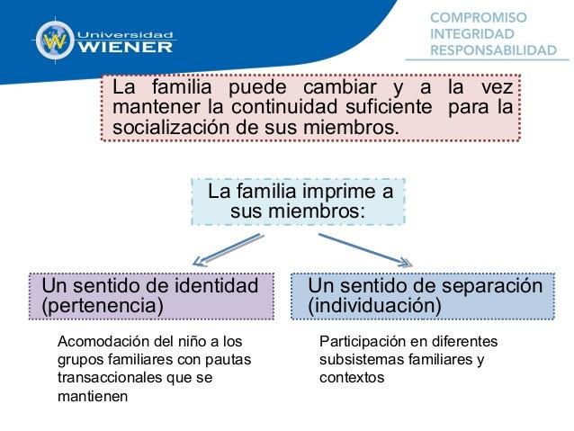 La familia puede cambiar y a la vez mantener la continuidad suficiente para la socialización de sus miembros. Un sentido d...