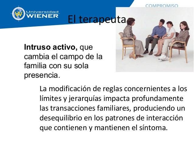 El terapeuta La modificación de reglas concernientes a los límites y jerarquías impacta profundamente las transacciones fa...