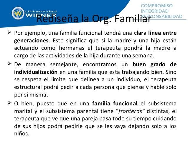 Rediseña la Org. Familiar  Por ejemplo, una familia funcional tendrá una clara línea entre generaciones. Esto significa q...