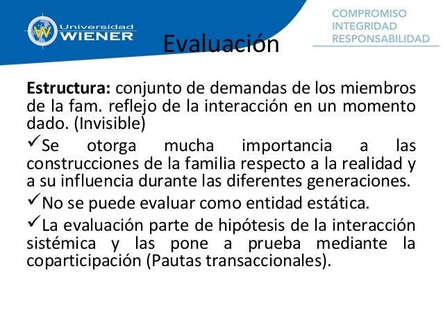 Evaluación Estructura: conjunto de demandas de los miembros de la fam. reflejo de la interacción en un momento dado. (Invi...