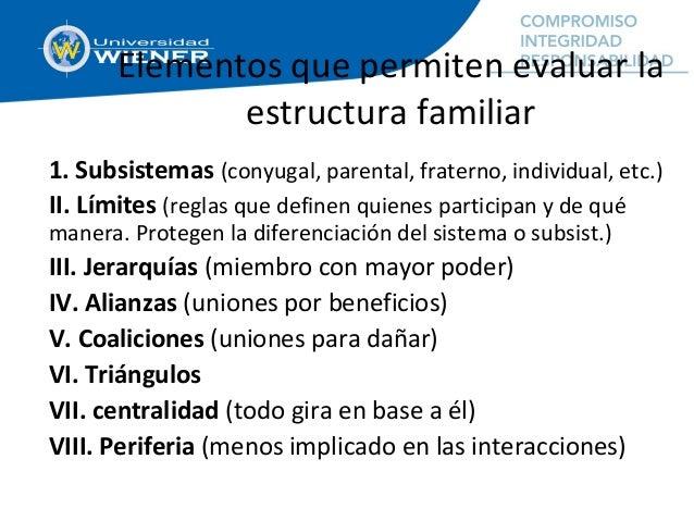 Elementos que permiten evaluar la estructura familiar 1. Subsistemas (conyugal, parental, fraterno, individual, etc.) II. ...