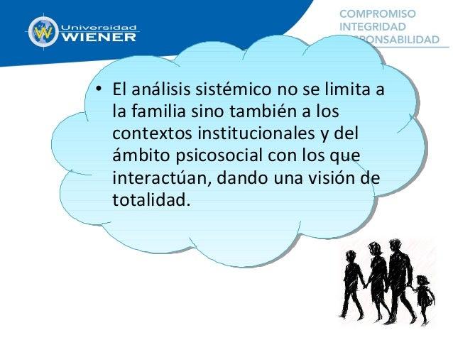 • El análisis sistémico no se limita a la familia sino también a los contextos institucionales y del ámbito psicosocial co...