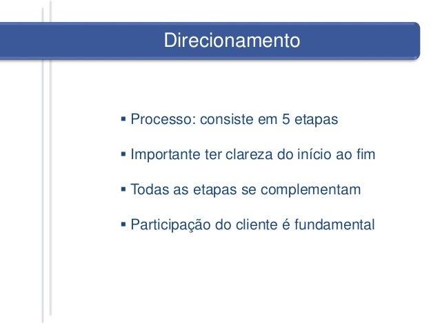 Direcionamento  Processo: consiste em 5 etapas  Importante ter clareza do início ao fim  Todas as etapas se complementa...