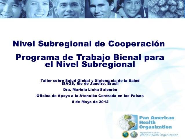 Nivel Subregional de CooperaciónPrograma de Trabajo Bienal para      el Nivel Subregional      Taller sobre Salud Global y...