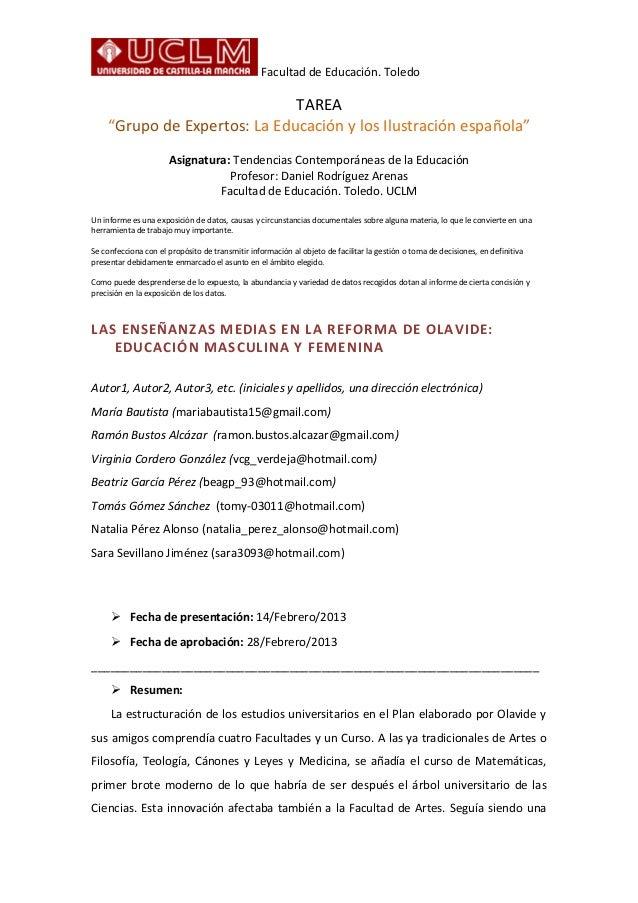 """Facultad de Educación. ToledoTAREA""""Grupo de Expertos: La Educación y los Ilustración española""""Asignatura: Tendencias Conte..."""