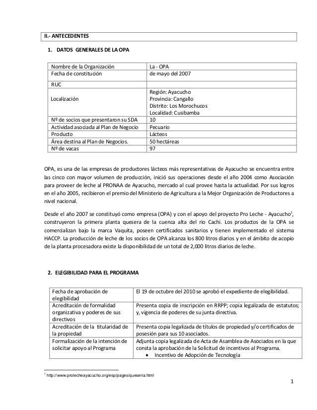 Modelo informe lacteos for Plan de negocios de un vivero de plantas