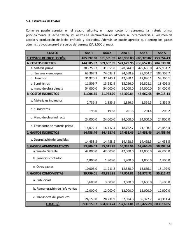 185.4. Estructura de CostosComo se puede apreciar en el cuadro adjunto, el mayor costo lo representa la materia prima,prin...