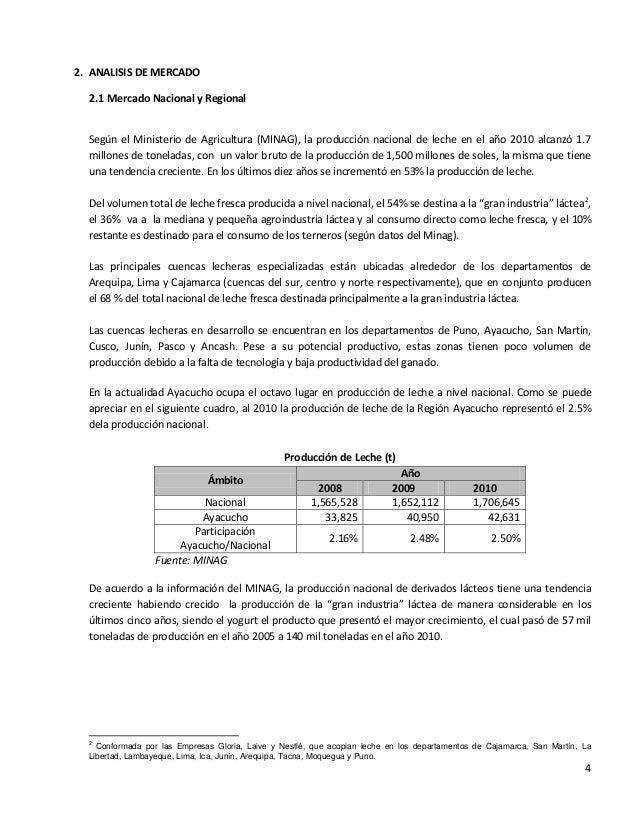42. ANALISIS DE MERCADO2.1 Mercado Nacional y RegionalSegún el Ministerio de Agricultura (MINAG), la producción nacional d...