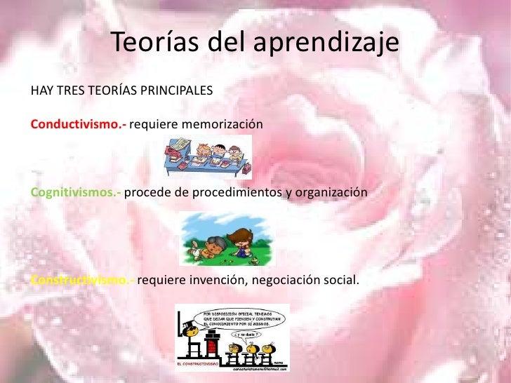 Teorías del aprendizaje<br />HAY TRES TEORÍAS PRINCIPALES<br />Conductivismo.-requiere memorización<br />Cognitivismos.-pr...