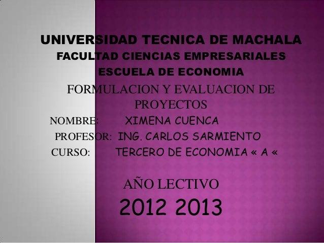 UNIVERSIDAD TECNICA DE MACHALA FACULTAD CIENCIAS EMPRESARIALES      ESCUELA DE ECONOMIA   FORMULACION Y EVALUACION DE     ...
