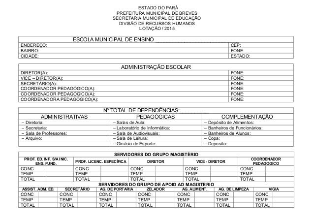 ESTADO DO PARÁ PREFEITURA MUNICIPAL DE BREVES SECRETARIA MUNICIPAL DE EDUCAÇÃO DIVISÃO DE RECURSOS HUMANOS LOTAÇÃO / 2015 ...