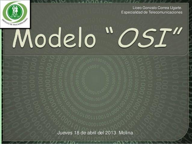Liceo Gonzalo Correa Ugarte.Especialidad de TelecomunicacionesJueves 18 de abril del 2013 Molina