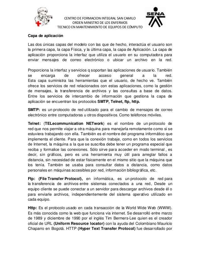 CENTRO DE FORMACION INTEGRAL SAN CAMILO ORDEN MINISTRO DE LOS ENFERMOS TECNICO EN MANTENIMIENTO DE EQUIPOS DE CÓMPUTO Capa...