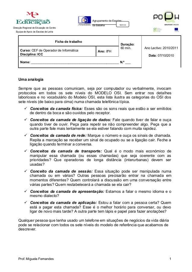 Direcção Regional de Educação do Centro Equipa de Apoio às Escolas de Leiria Agrupamento de Escolas da Batalha 160103 Fich...