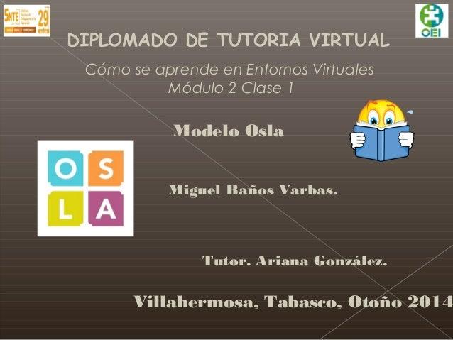 DIPLOMADO DE TUTORIA VIRTUAL  Cómo se aprende en Entornos Virtuales  Módulo 2 Clase 1  Modelo Osla  Miguel Baños Varbas.  ...