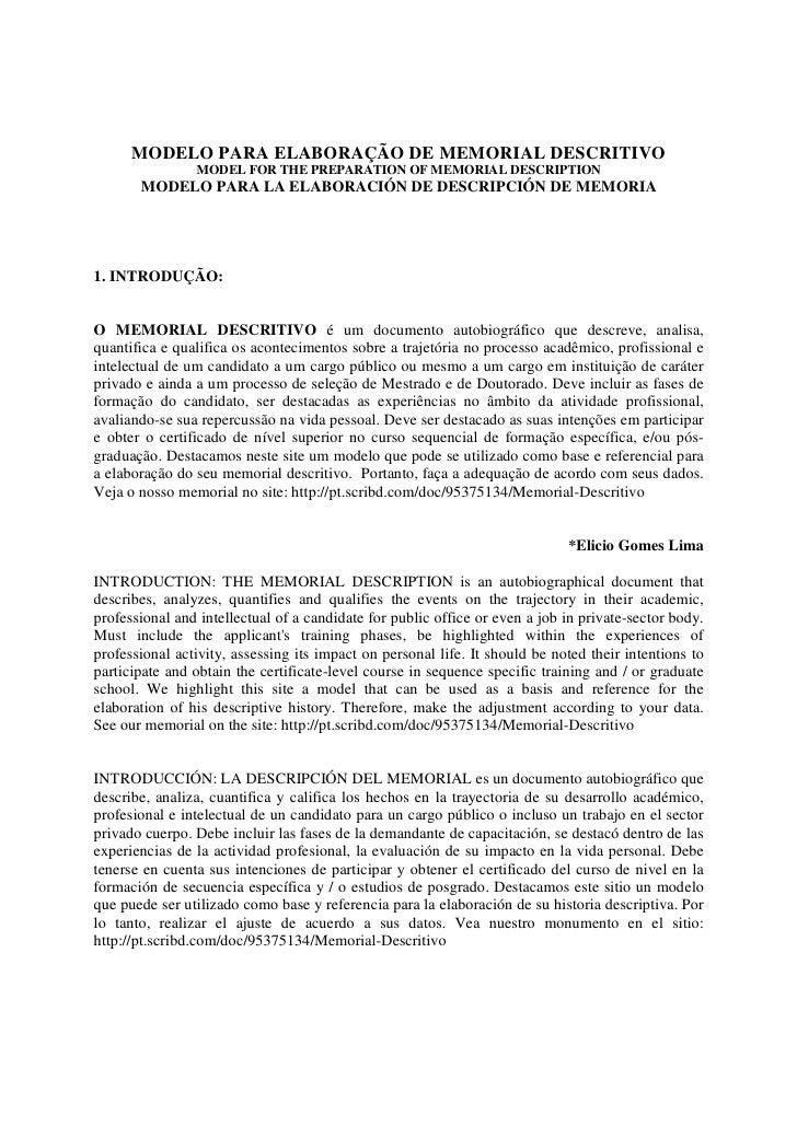 MODELO PARA ELABORAÇÃO DE MEMORIAL DESCRITIVO                MODEL FOR THE PREPARATION OF MEMORIAL DESCRIPTION       MODEL...