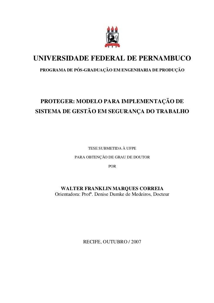 UNIVERSIDADE FEDERAL DE PERNAMBUCO PROGRAMA DE PÓS-GRADUAÇÃO EM ENGENHARIA DE PRODUÇÃO PROTEGER: MODELO PARA IMPLEMENTAÇÃO...