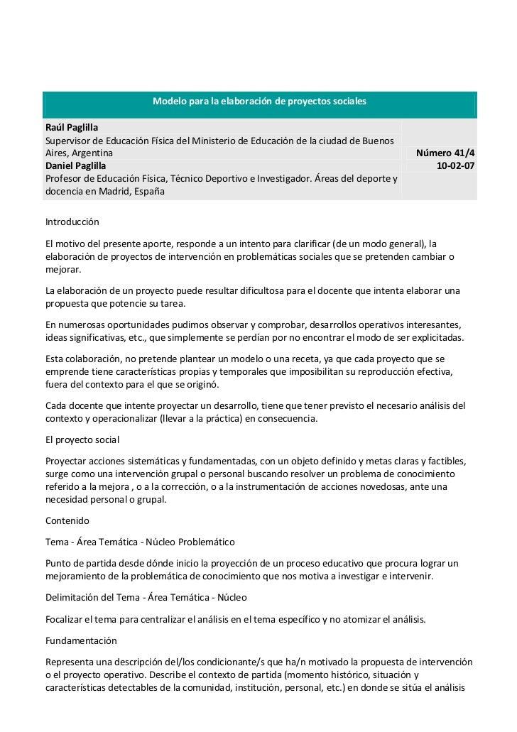 Modelo para la elaboración de proyectos socialesRaúl PaglillaSupervisor de Educación Física del Ministerio de Educación de...