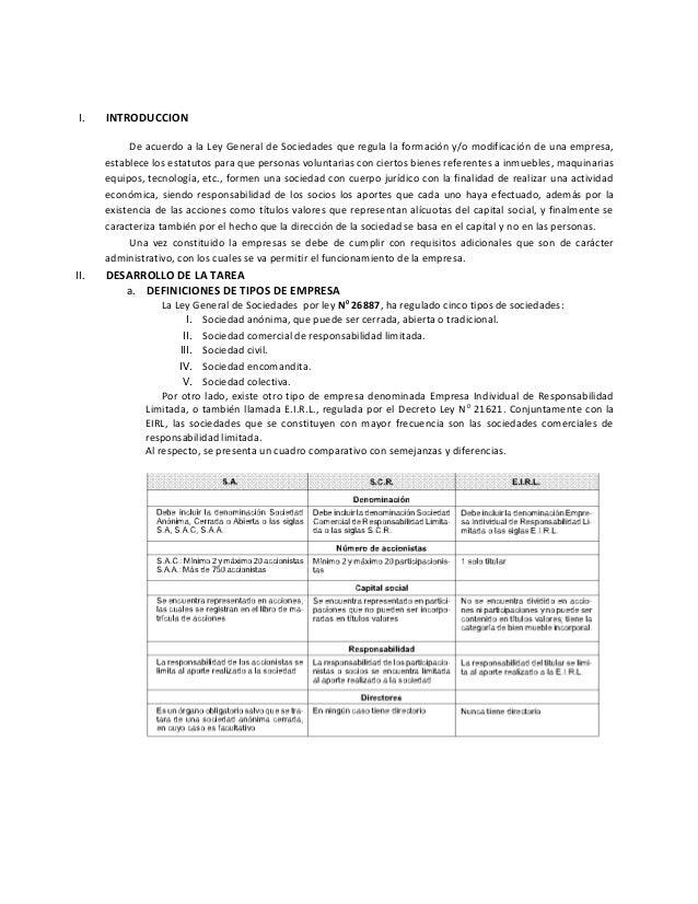 I. INTRODUCCION De acuerdo a la Ley General de Sociedades que regula la formación y/o modificación de una empresa, estable...