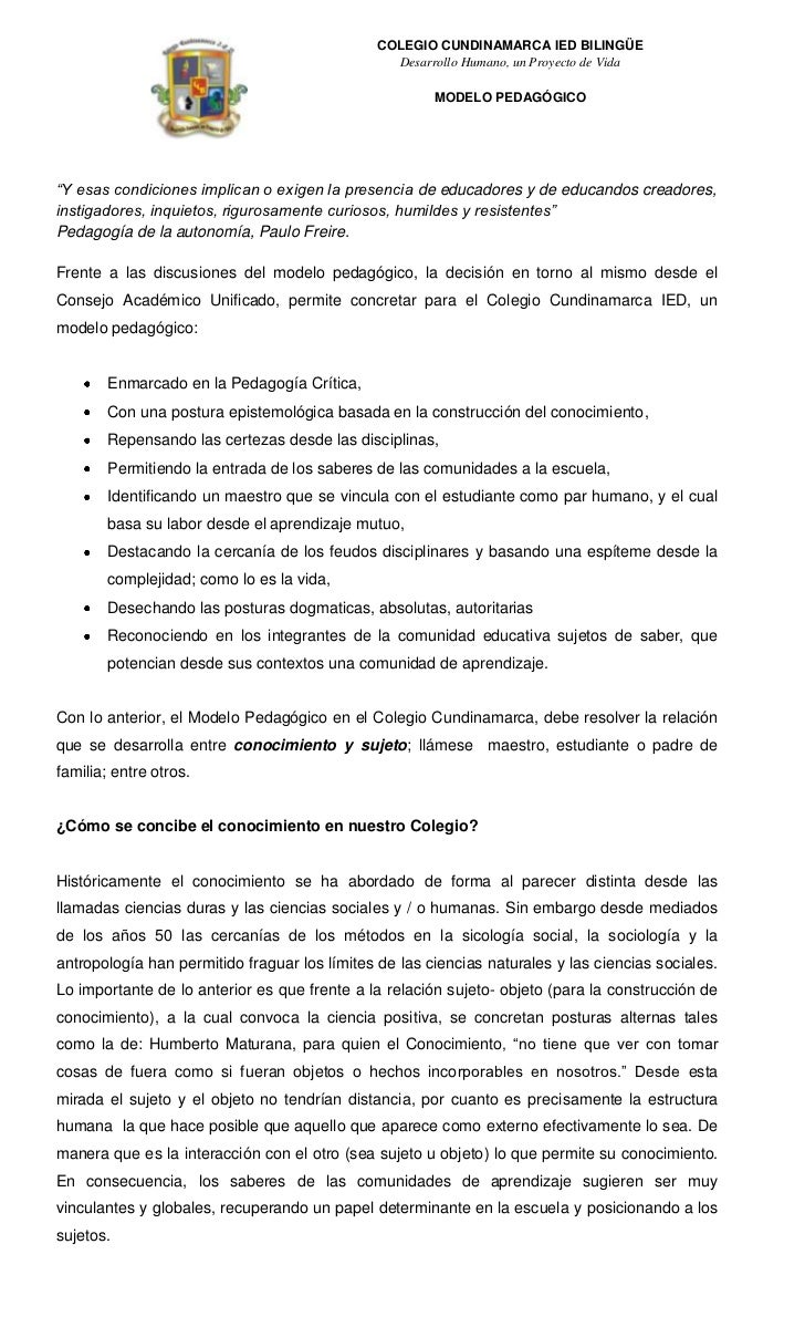 COLEGIO CUNDINAMARCA IED BILINGÜE                                                 Desarrollo Humano, un Proyecto de Vida  ...